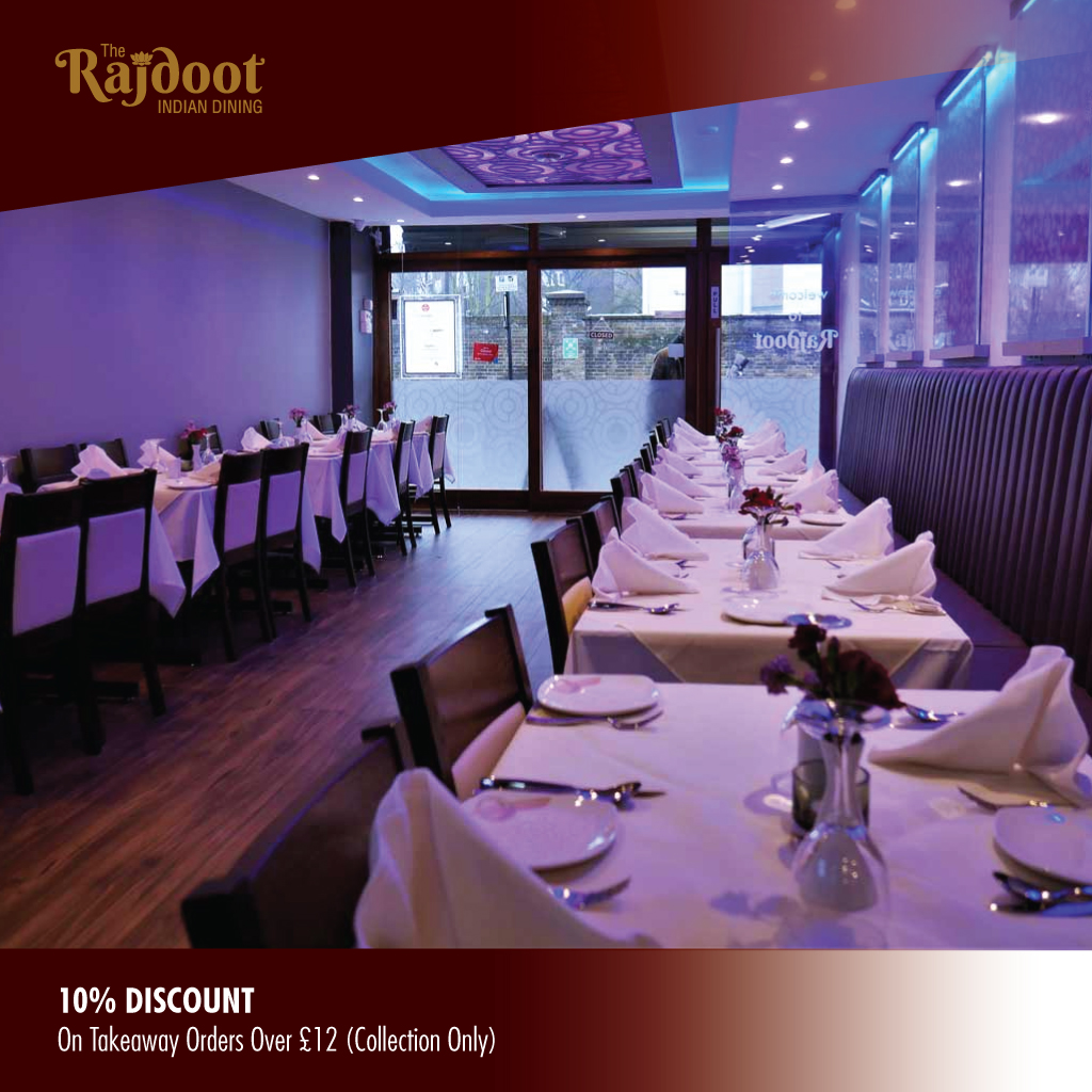 10% Discount on Collection Orders Over £12 at The Rajdoot in Hampstead