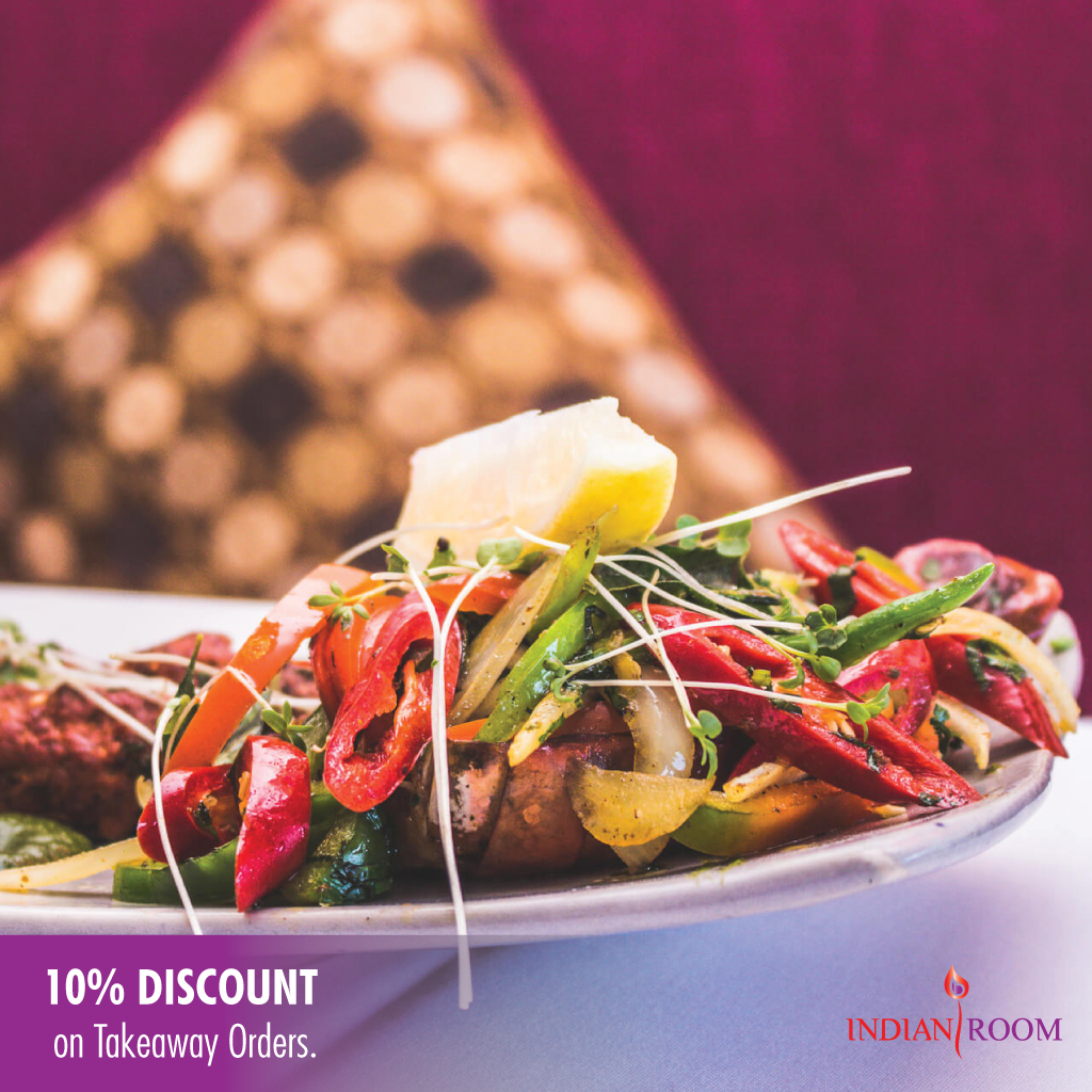 10 % discount at Indian Room. Tickets & Vouches 2
