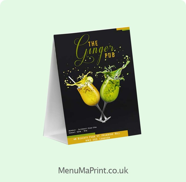 MenuMa Print executes first-class Tent Card Printing at unbeatable prices. Tent Card is praiseworthy and table tent is widely used in restaurants and hotels Other