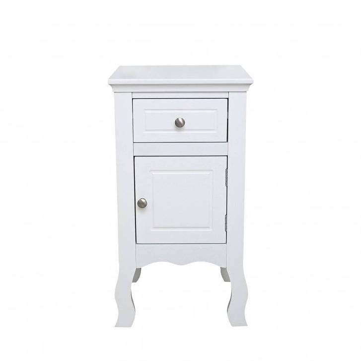 Woodluv MDF Bedside Storage Cabinet With a Drawer and Cupboard Household