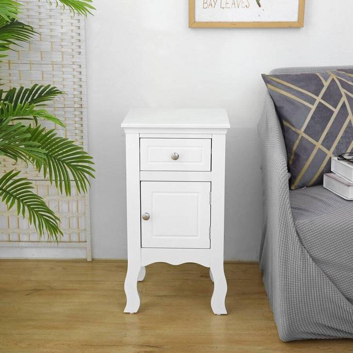 Woodluv MDF Bedside Storage Cabinet With a Drawer and Cupboard Household 2